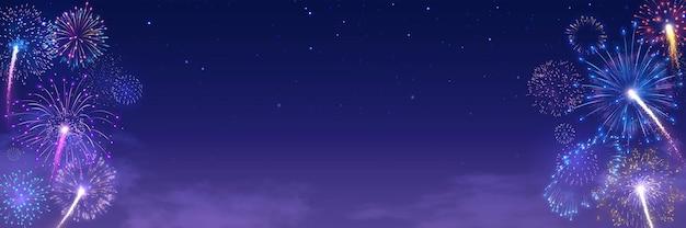 Banner del festival de fuegos artificiales con explosiones de fuegos artificiales en el cielo nocturno estrellado