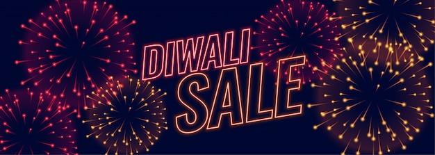 Banner de festival de fuegos artificiales de venta de diwali