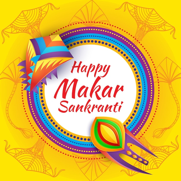 Banner del festival happy makar sankranti con cometas y adornos étnicos indios