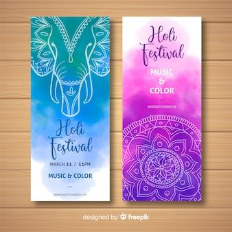 Banner festival holi acuarela