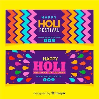 Banner festival holi estampado colorido