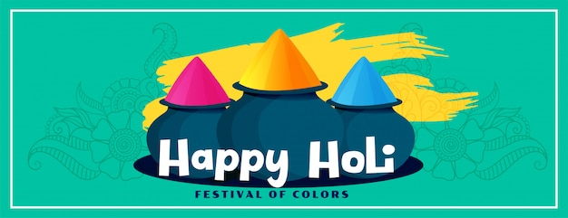 Banner de festival de holi feliz de estilo plano