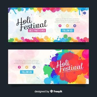 Banner festival holi plano colorido