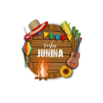 Banner del festival de junio con tablero de madera con elementos y símbolos de festa junina