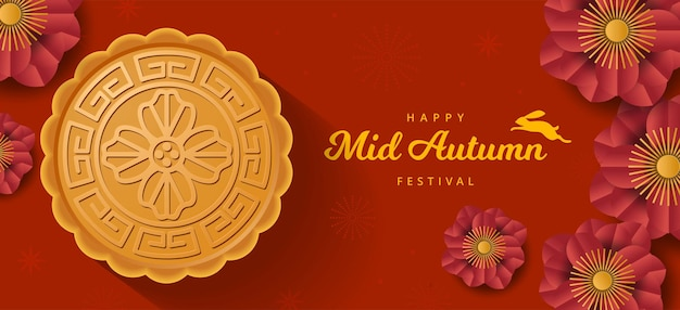 Banner del festival de mediados de otoño con conejo, pastel de luna y flor. estilo de corte de papel. vector