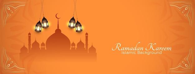 Banner del festival del mes sagrado islámico de ramadan kareem