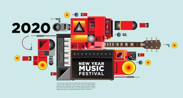 Banner del festival de música para la fiesta y evento de año nuevo 2020