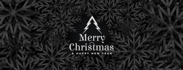 Banner de festival de navidad con diseño de copos de nieve de tema negro