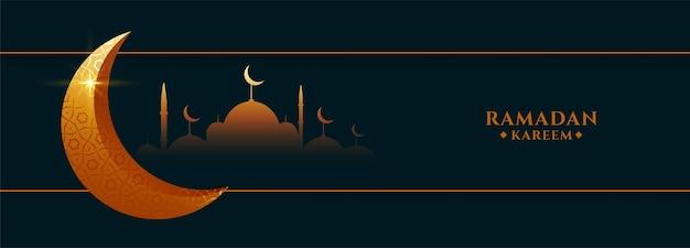 Banner del festival de ramadan kareem con mezquita y luna