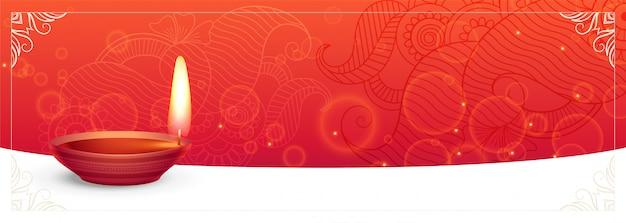 Banner festival tradicional de diwali con espacio de texto