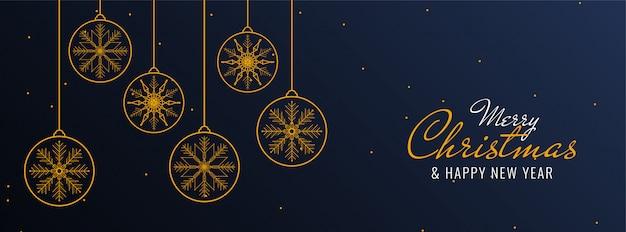 Banner festivo de feliz navidad con bolas de navidad