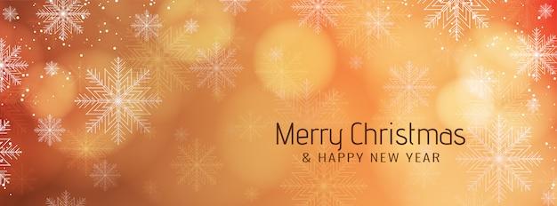 Banner festivo de feliz navidad con copos de nieve