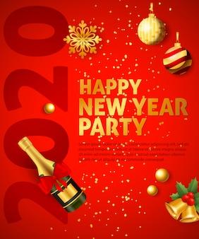 Banner festivo de fiesta feliz año nuevo