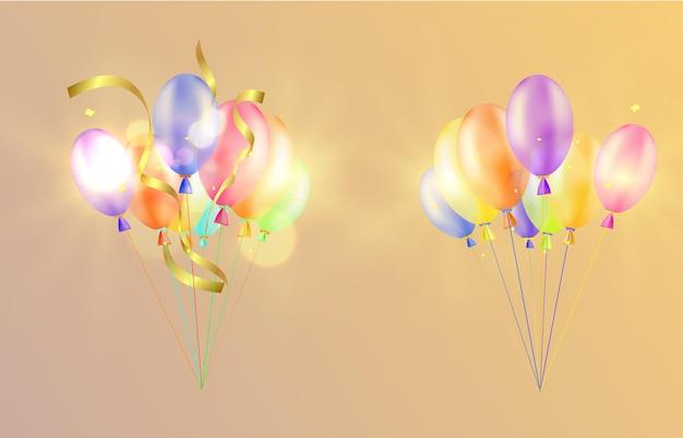 Banner festivo con globos sobre fondo transparente