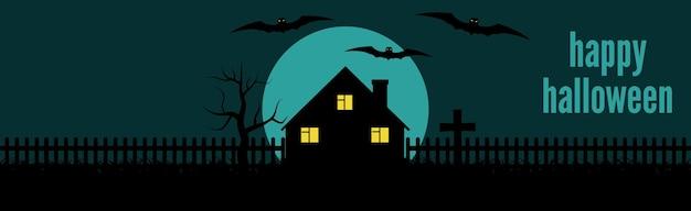 Banner festivo de halloween feliz con una casa solitaria y murciélagos sobre un fondo de luna llena en la noche. ilustración vectorial.