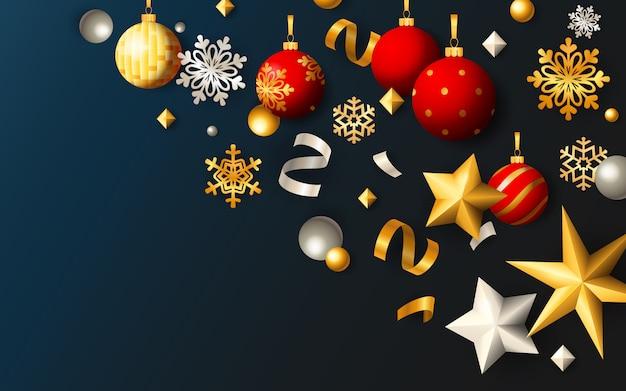 Banner festivo de navidad con bolas y estrellas sobre fondo azul.