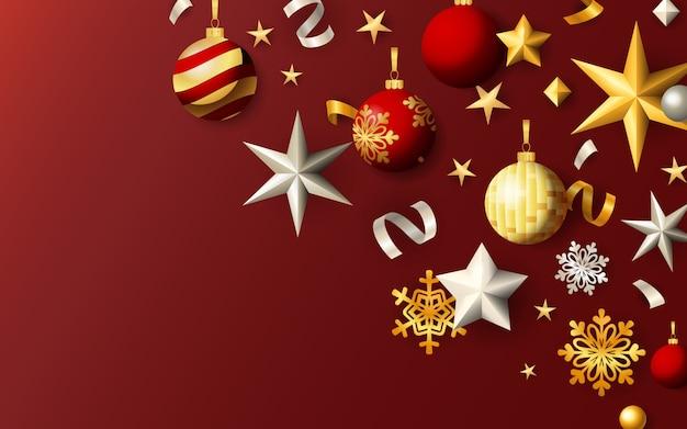 Banner festivo de navidad con bolas y estrellas sobre fondo rojo.