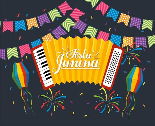Banner de fiesta con acordeón a festa junina.