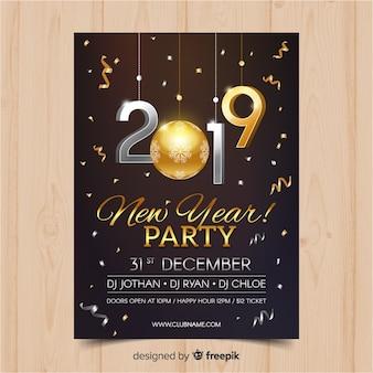 Banner de fiesta de año nuevo 2019