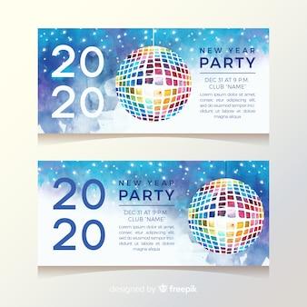 Banner de fiesta de año nuevo 2020 en diseño de acuarela