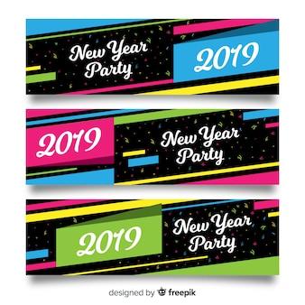 Banner fiesta año nuevo líneas coloridas