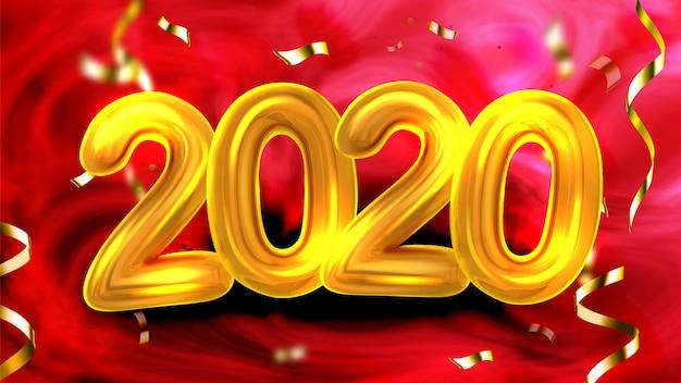 Banner de fiesta de año nuevo número 2020 de oro