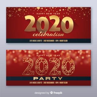Banner de fiesta de año nuevo plano