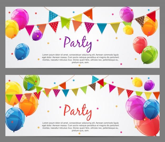 Banner de fiesta con banderas y globos