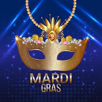 Banner de fiesta de carnaval o tarjeta de felicitación con máscara dorada