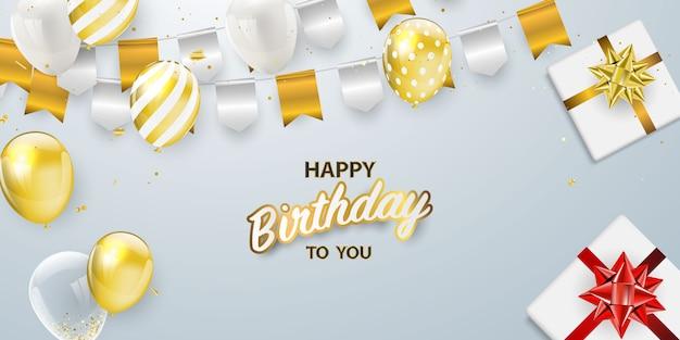 Banner de fiesta de celebración de feliz cumpleaños con globos dorados
