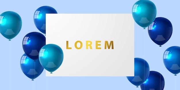 Banner de fiesta de celebración con fondo de globos de color azul. rebaja . tarjeta de gran inauguración saludo de lujo rico. plantilla de marco.