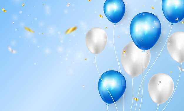 Banner de fiesta de celebración con fondo de globos de color azul. tarjeta de gran inauguración saludo de lujo rico.