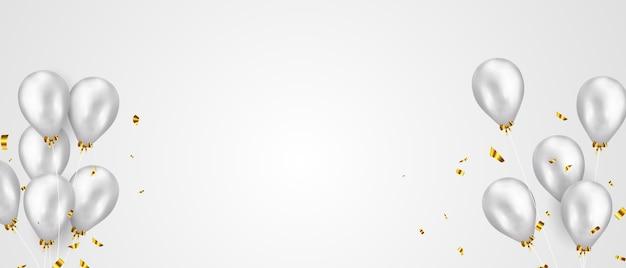 Banner de fiesta de celebración con fondo de globos de color plata. rebaja . tarjeta de gran inauguración saludo de lujo rico.