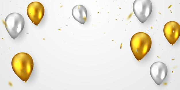 Banner de fiesta de celebración con fondo de globos dorados