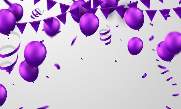 Banner de fiesta de celebración con fondo de globos morados. venta