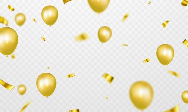 Banner de fiesta de celebración con fondo de globos de oro. ilustración de venta gran apertura de la tarjeta de felicitación de lujo rico.