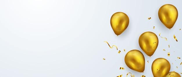 Banner de fiesta de celebración con fondo de globos de oro. rebaja . tarjeta de gran inauguración saludo de lujo rico.