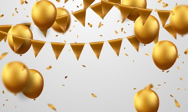 Banner de fiesta de celebración con fondo de globos de oro. venta