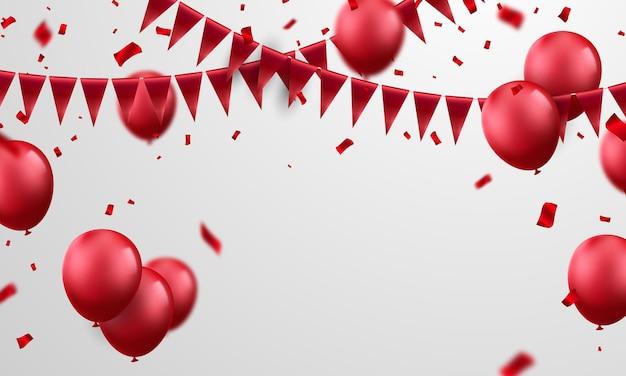 Banner de fiesta de celebración con fondo de globos rojos