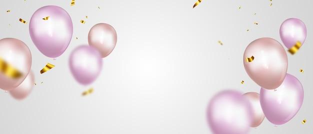 Banner de fiesta de celebración con fondo de globos rosa. rebaja . tarjeta de gran inauguración saludo de lujo rico.