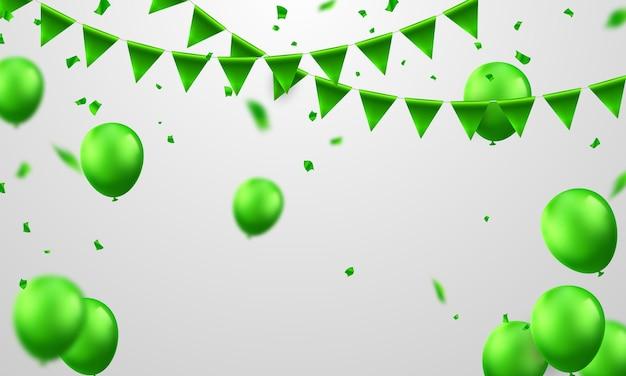 Banner de fiesta de celebración con fondo de globos verdes. venta