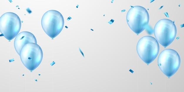 Banner de fiesta de celebración con globos de color azul