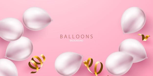 Banner de fiesta de celebración con globos color plata