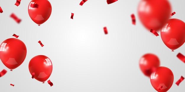 Banner de fiesta de celebración con globos rojos y confeti