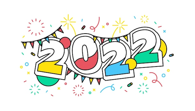 Banner de fiesta de festival de año nuevo 2022. coloridos números dos mil veintidós y confeti.
