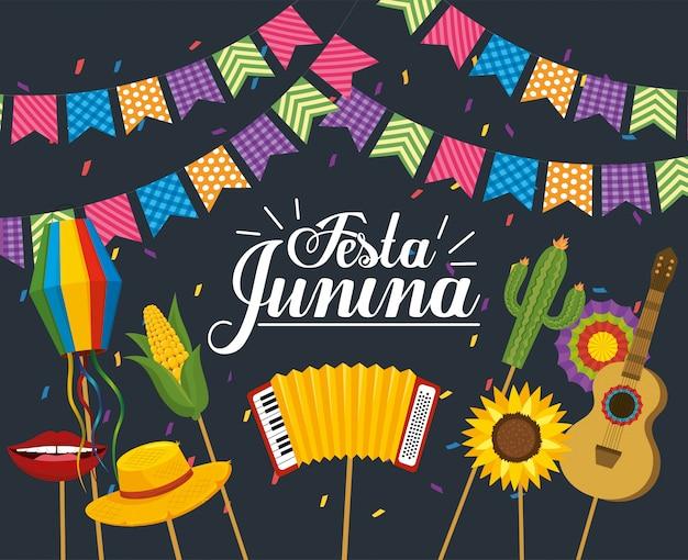 Banner de fiesta con fiesta de fiesta junina.