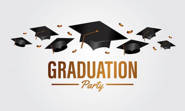 Banner de fiesta de graduación de concepto de educación con tapa de grupo