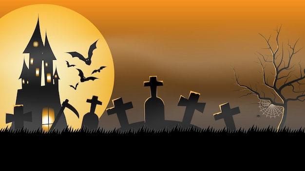 Banner de fiesta de halloween, fullmoon, haunted house en el cementerio. cartel de invitación de fiesta de vacaciones, tarjeta de felicitación, invitación de fiesta, ilustración vectorial.