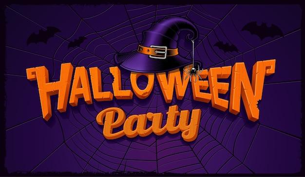 Banner de fiesta de halloween con letras de calabaza y sombrero de bruja con telaraña en el fondo.
