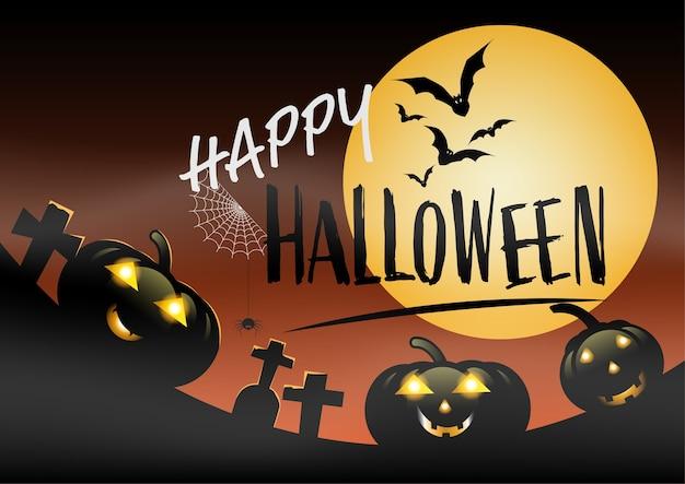 Banner de fiesta de halloween, luna llena, calabazas y murciélago en el cementerio. fiesta